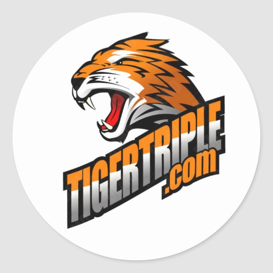 "tigertriple.com Sheet of (6) 3"" stickers"