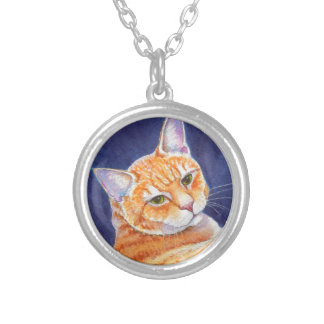 Tigg the Orange Tabby Cat Silver Plated Necklace