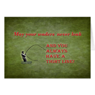 Tight line | waders | Fly fishing Holiday wish Card