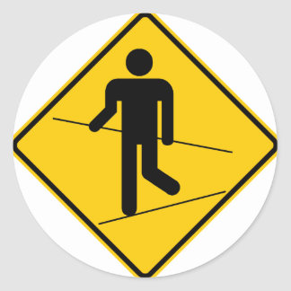 Tightrope Walker Zone Highway Sign Classic Round Sticker