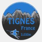 Tignes France blue ski logo art stickers