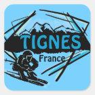 Tignes France blue ski logo artistic stickers
