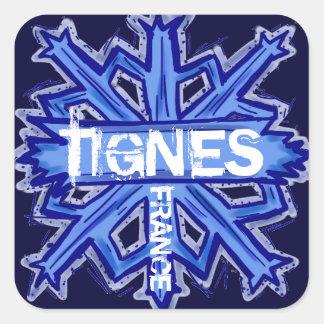 Tignes France blue snowflake stickers
