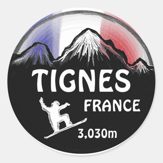 Tignes France flag snowboard art stickers