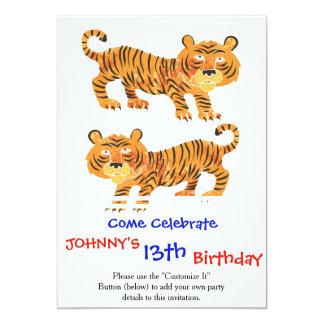 tigre chinois carton d'invitation  12,7 cm x 17,78 cm