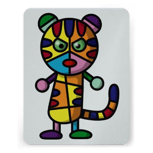 tigre coloré invitations
