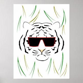 Tigre con lentes poster