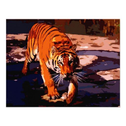 Tigre de marche carton d'invitation