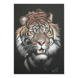 Tigre d'hurlement dans le panneau d'éraflure carton d'invitation  12,7 cm x 17,78 cm