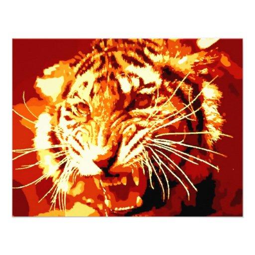 Tigre d'hurlement cartons d'invitation