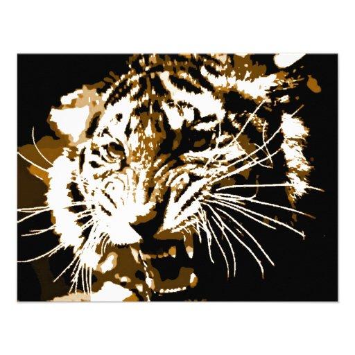 Tigre d'hurlement invitations personnalisées