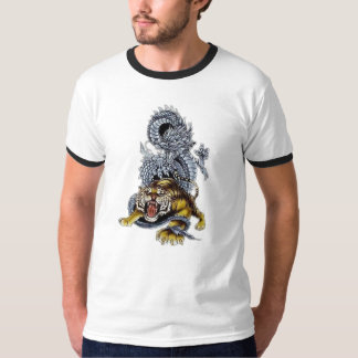 Tigre et combat de dragon tee-shirts
