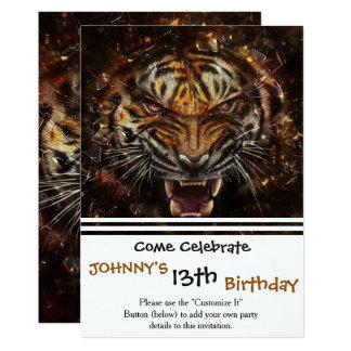 Tigre fâché cassant Yelow en verre Carton D'invitation 12,7 Cm X 17,78 Cm