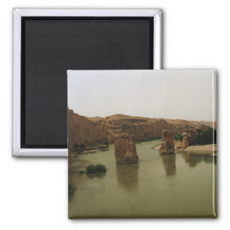 Tigris River flowing through Hasankeyf, Turkey Square Magnet
