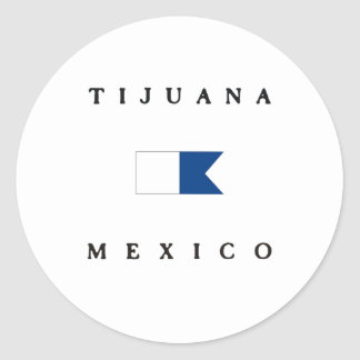 Tijuana Mexico Alpha Dive Flag Classic Round Sticker
