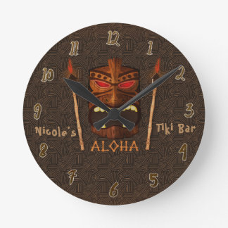 Tiki ALOHA Bar Tropical Custom Personalized Round Clock