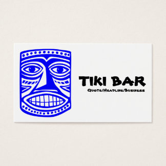Tiki Bar - Blue, Black & White Business Card