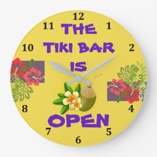 Tiki Bar Hut is Open Tropical Hibiscus Cocktail Large Clock