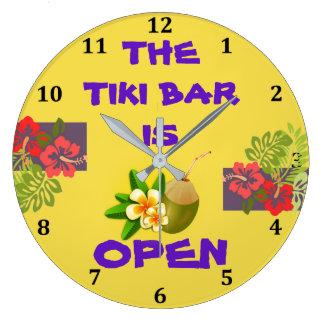 Tiki Bar Hut is Open Tropical Hibiscus Cocktail Wallclock