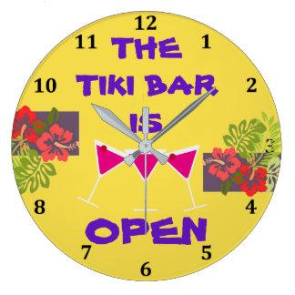 Tiki Bar is Open Tropical Cocktails Custom Color Wallclock
