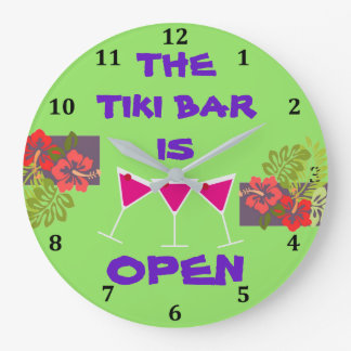 Tiki Bar is Open Tropical Hibiscus Cocktails Green Large Clock