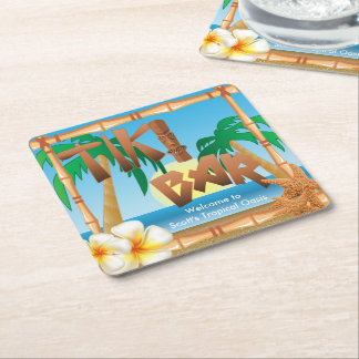 Tiki Bar Personalize Tropical Oasis Square Paper Coaster