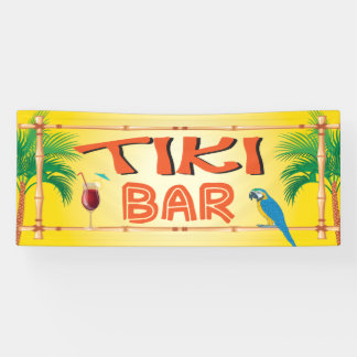 Tiki Bar tropical beach party Banner