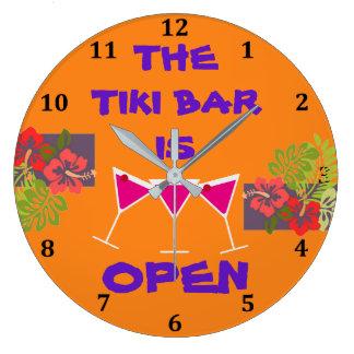 Tiki Bar Tropical Hibiscus Cocktails Custom Color Large Clock