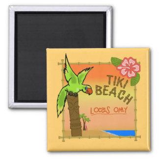 Tiki Beach Square Magnet