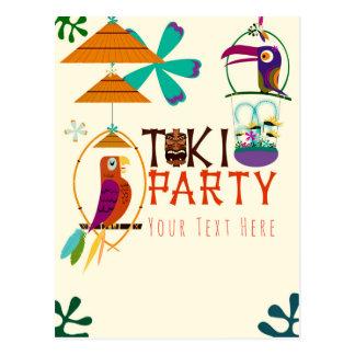 Tiki Birds Birthday Party Vintage Luau Event Postcard
