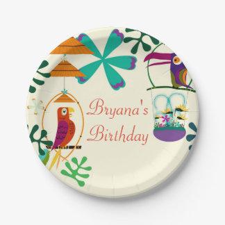 Tiki Birds Birthday Party Vintage Luau Plates