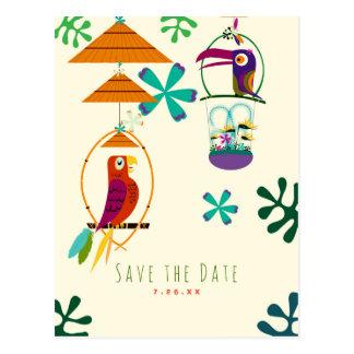 Tiki Birds Party Vintage Retro Luau Save the Date Postcard