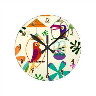 Tiki Birds Tropical Custom Personalized Round Clock