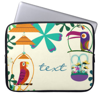 Tiki Birds Vintage Retro Art Personalized Custom Laptop Sleeve