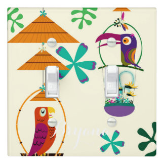 Tiki Birds Vintage Retro Art Personalized Custom Light Switch Cover