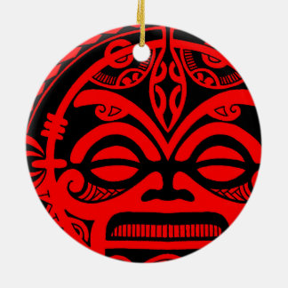 Tiki god tattoo design polynesian face tribal round ceramic ornament