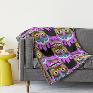 Tiki God Tribal Mask Throw Blanket