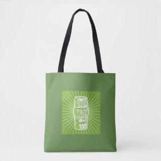 Tiki green tote bag