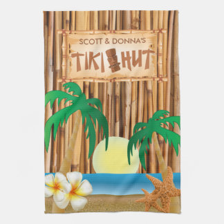 Tiki Hut Bamboo Stick Design Hand Towel