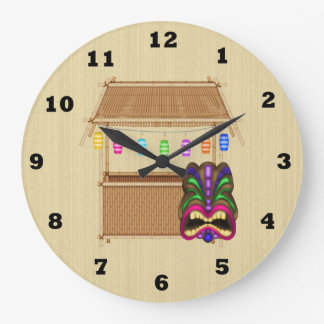 Tiki Hut cartoon wall clock
