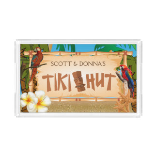 Tiki Hut Party Design Acrylic Tray