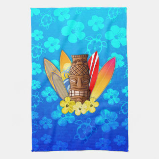 Tiki Mask And Surfboards Kitchen Towel