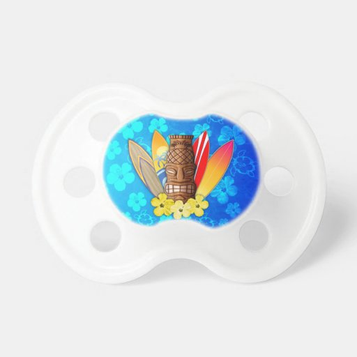 Tiki Mask And Surfboards Pacifier