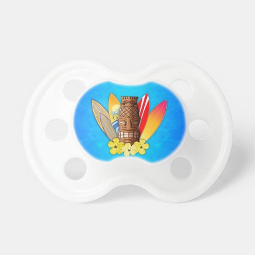 Tiki Mask And Surfboards Pacifiers