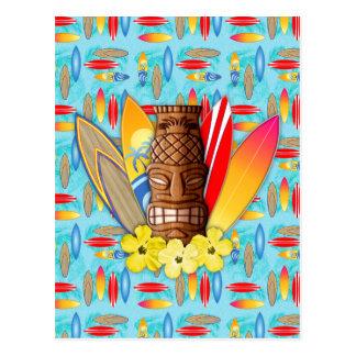Tiki Mask And Surfboards Postcard