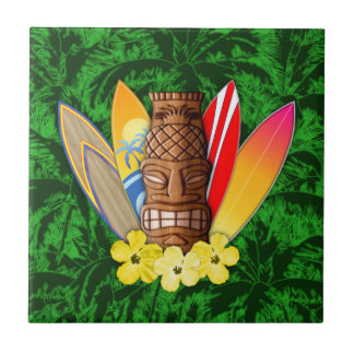 Tiki Mask And Surfboards Tile