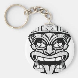 tiki mask hawaiian art basic round button keychain