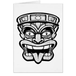 tiki mask hawaiian art card