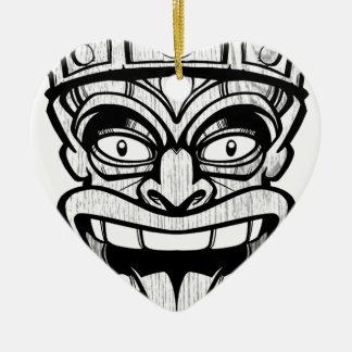 tiki mask hawaiian art ceramic heart ornament