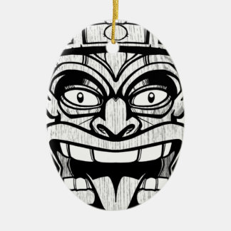 tiki mask hawaiian art ceramic oval ornament